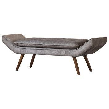 Newcastle Fabric Tufted Bench Tweed Gray