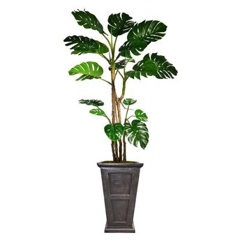 "90.8"" Monstera Artificial Plant with Burlap Kit in 26.8"" Black/ Bronze Fiberstone Planter"