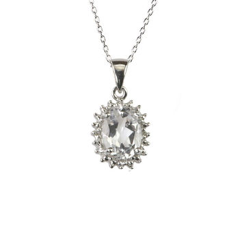 925 Sterling Silver White Topaz and Diamond Necklace 16mm Oval 18 Inch Chain