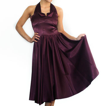 Plum Holiday Halter Swing Dress