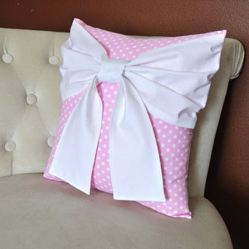 Nursery Decor - Pink Polka Dot Pillow with  Big White Bow Throw Pillow Nursery pillow