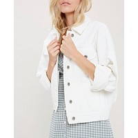 premium wash cotton denim jacket - white
