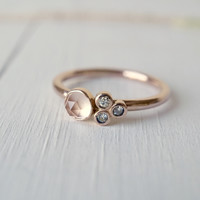14k Rose Quartz Cluster Engagement Ring
