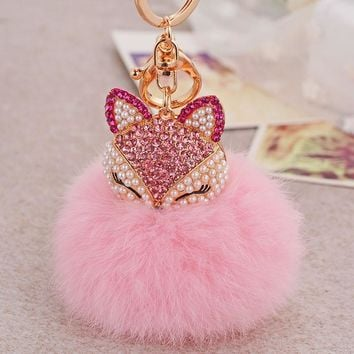 Dalaful Lovely Fox Rabbit Fur Ball Fluffy Key Chains Rings Crystal Hotsale Bag Pendant Keyrings KeyChains For Women K283