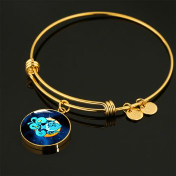 Zodiac Sign Aquarius - 18k Gold Finished Bangle Bracelet