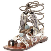 Sam Edelman Gretchen Embroidered Lace-Up Flat Sandal, Multi