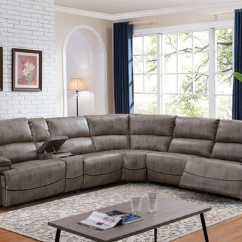 6 pc Donovan collection taupe leather like fabric upholstered sectional sofa with power recliners