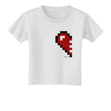 Couples Pixel Heart Design - Left Toddler T-Shirt by TooLoud