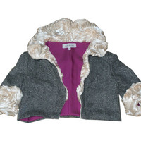 Wool Jacket with Sculpted Rose Collar and Sleeves
