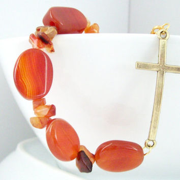 Genuine Carnelian Gold Cross Bracelet, Carnelian Bracelet, Carnelian Jewelry, Cross Bracelet, Christian Bracelet, Cross Jewelry