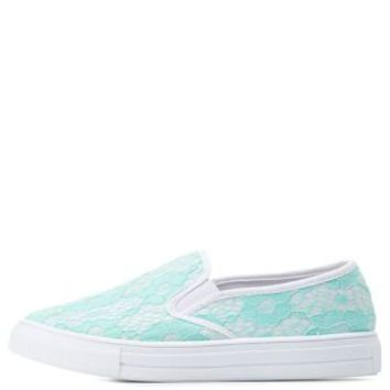 White Two-Tone Lace Slip-On Sneakers by Charlotte Russe