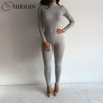 2019 New Casual Solid Color rompers womens jumpsuit Turtleneck Long Sleeve Bodycon Cotton Grey/Black Rompers Women Jumpsuit
