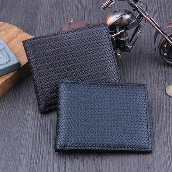 (1Pcs/Sell)PU woven pattern men Grid Womens Wallets & Purses High Quality Wallet Women Luxury Brand Famous Brands 2017 New