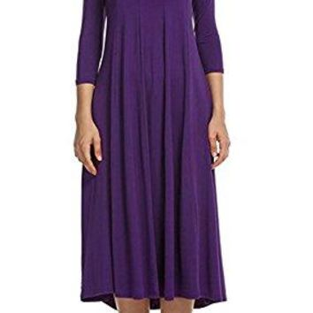 Doramode Womens 3 4 Sleeve Midi Crew Collar Swing Loose Ruffles Oversized Western Easter Dress Clothes Purple XL