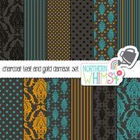 Teal, Gold, and Charcoal Damask Digital Paper Pack – bold scrapbook papers for invitations, web backgrounds, etc – instant download – CU OK