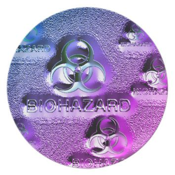 biohazard fallout contamination sign toxic purple dinner plate