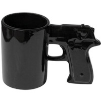 Evelots The Gun Mug, Coffee, Tea, Beverages Cup, Ceramic Drink Holder, Black