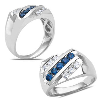 Men's 1/2CT Diamond with Sapphire Ring 10k White Gold with Cage Back