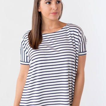 Piko Top: Short Sleeve Round Neck in Navy Stripes