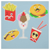 Fun Colorful Emoji Style Fast Food Design Fabric
