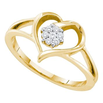 10kt Yellow Gold Womens Round Diamond Heart Flower Cluster Ring 1/12 Cttw