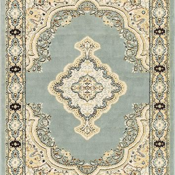 5084 Light Blue Medallion Traditional Area Rugs