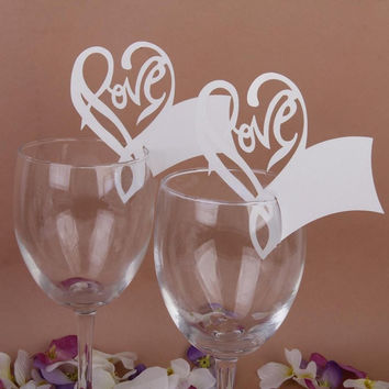 50x Love Hearts Wine Glass Place Cards