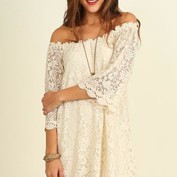 Off the Shoulder Floral Lace Dress