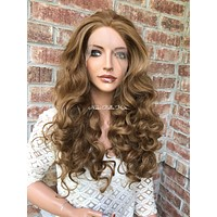 """Light Brown Swiss lace front wig 20"""" 41720"""