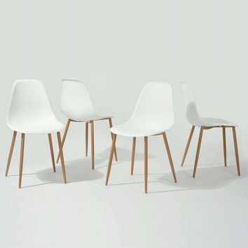Set of 4 Modern Mid Century Style Dining Chairs in White with Wood legs