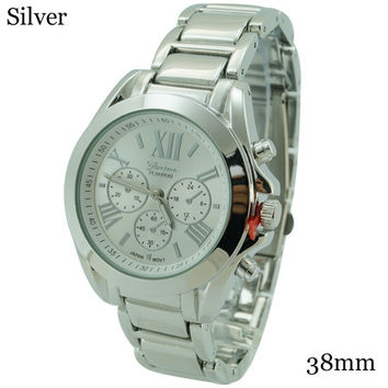Geneva Platinum Designer Roman Numerals 3 Eye Chrono Dial Watch