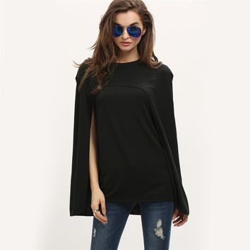 Ladies Autumn Vogue Black Round Neck Cape Asymmetrical Top New Style Fashion Split Sleeve Blouse