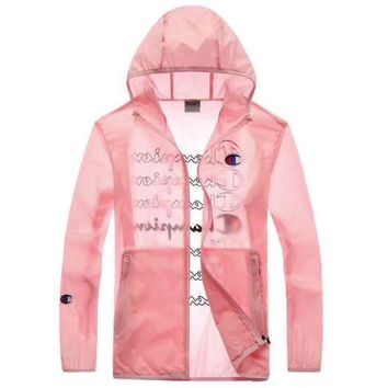 Champion 2019 new thin men and women long-sleeved letter cardigan jacket Pink