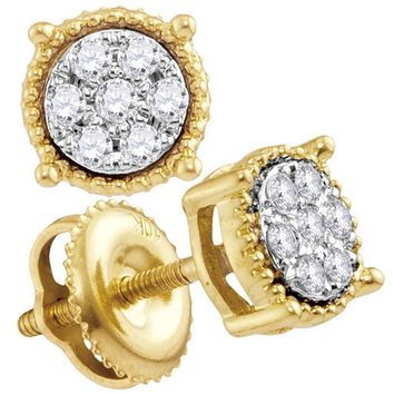 10kt Yellow Gold Women's Round Diamond Flower Cluster Milgrain Stud Earrings 1/10 Cttw