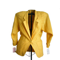 Vintage Blazer 1980s Womens Golden Yellow Single Button Fully Lined - Deadstock Never Worn - Size 4 - KGR Brand