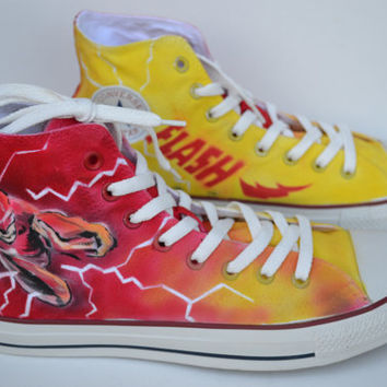 Painted Flash Shoes, Custom Painted Mens Converse, The Flash Converse, Custom Sneakers, Flash by PricklyPaw