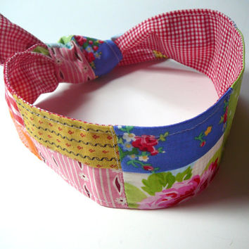 Patchwork Headband - Reversable Headband - Patchwork Hair Tie - Floral Hair Tie - Shabby Chic Hair Tie - Stocking Stuffer