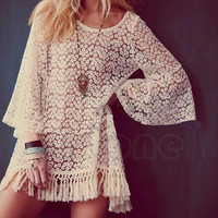 Vintage Hippie Boho Bell Sleeves Sexy Lace Mini Dress Tops Gypsy Festival Fringe