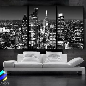 "LARGE 30""x 60"" 3 Panels Art Canvas Print beautiful London Skyline lights night Black & White Wall Home (Included framed 1.5"" depth)"