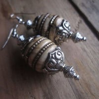 Tibetan, Naga Shell, Inlaid with Brass, Tibetan Silver, Bali Style Dangle Earrings, Neutral Color, Tribal Earrings, Exotic Shell,