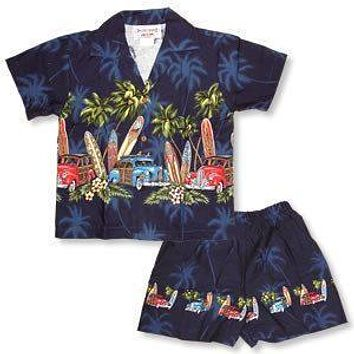 surf navy boy hawaiian border cabana set