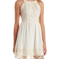 Ivory Embroidered Organza & Chiffon Dress by Charlotte Russe