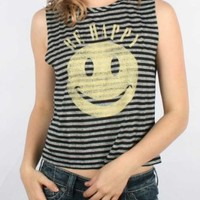 Mighty Fine - Womens Be Happy Not Sad Muscle Tank Top In Black/Charcoal Stripe