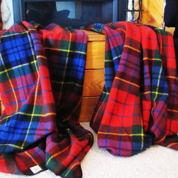 vintage his and hers plaid Northstar wool blankets, 1940's