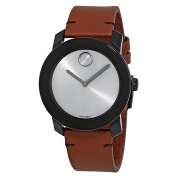 Movado Bold Grey Sunray Dial Mens Cognac Leather Watch 3600442