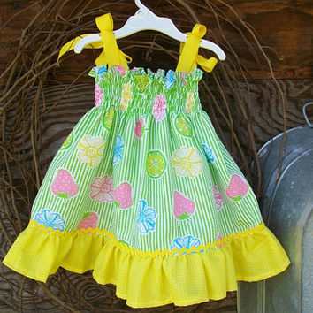 Baby Girl Sundress size 2, green and yellow, ruffles, spring/summer