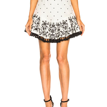 Zimmermann Tali Embroidered Lotus Skirt in Ivory   FWRD