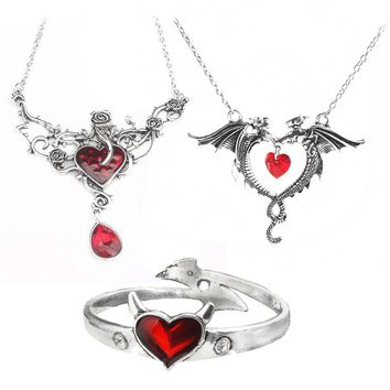 SG New Game of Thrones Rose Heart Pendants Necklaces Double Dragon Necklace Vampire Diaries Devil Heart Beat Ladies Girls Gift