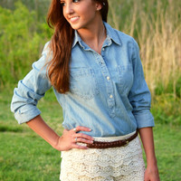 Ivory Scalloped Crochet Shorts