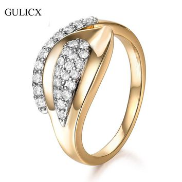 GULICX Fashion Rings with Round Tiny AAA Cubic Zirconia Stone Women Jewelry for Party Band Engagement Ring